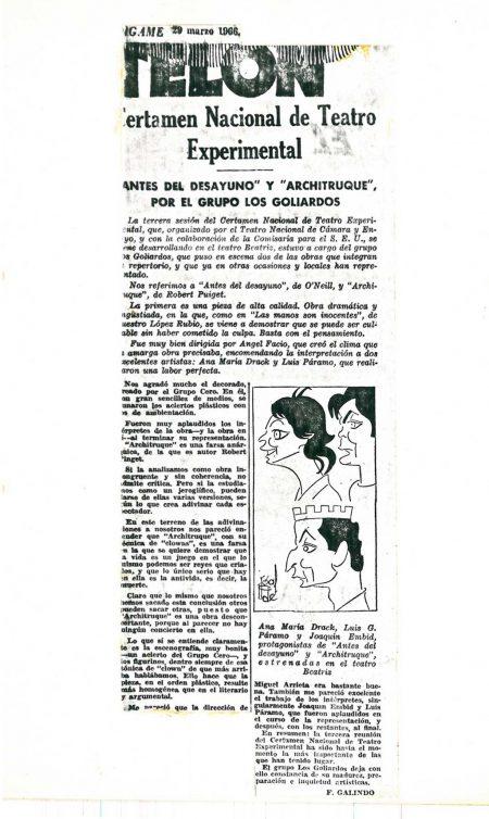 Dígame - 29/03/1966 Artículo de F. Galindo