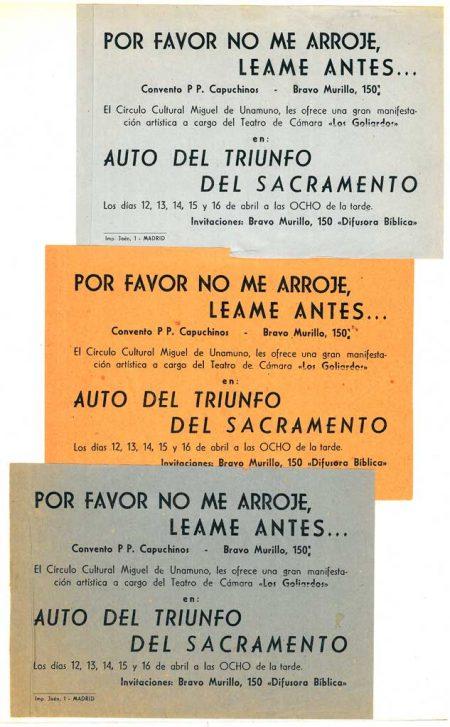 Auto del Triunfo del Sacramento Invitación del Círculo Cultural Miguel de Unamuno